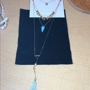 Jewelry - New long layered bead tassel necklaces set aqua